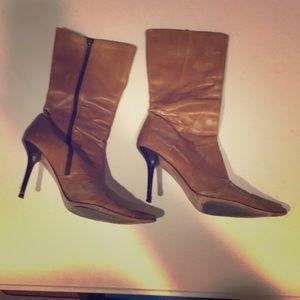 Tan Aldo leather boots heels 39